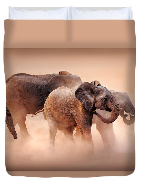 Elephants In Dust Duvet Cover