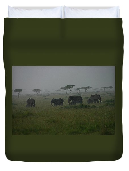 Elephants In Heavy Rain Duvet Cover
