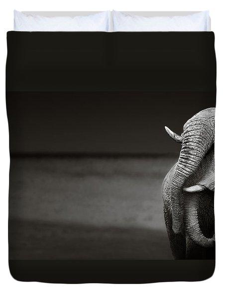 Elephants Interacting Duvet Cover by Johan Swanepoel