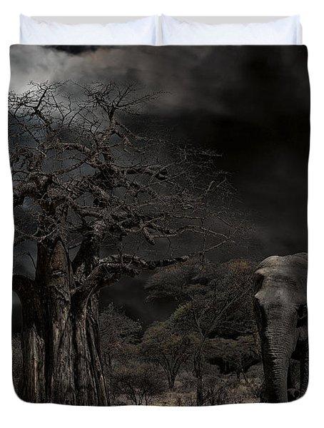 Elephants Of The Serengeti Duvet Cover by Daniel Hagerman