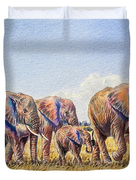 Elephants Walking Duvet Cover