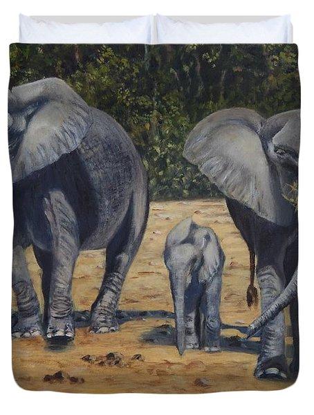 Elephants With Calf Duvet Cover by Caroline Street