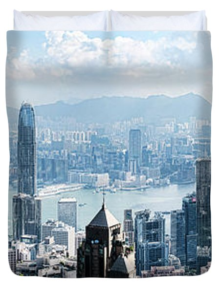 Elevated View Of Skylines, Hong Kong Duvet Cover by Panoramic Images