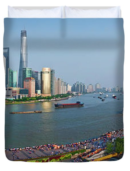 Elevated View Of Skylines, Oriental Duvet Cover