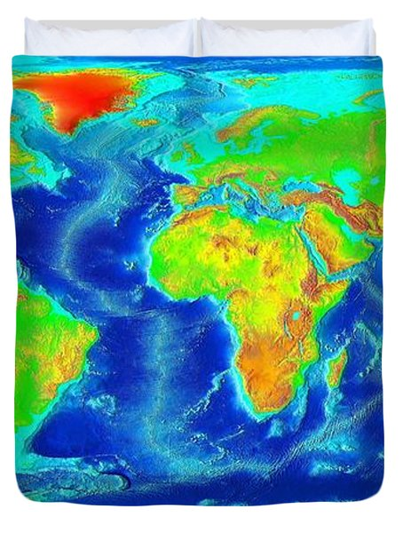 Elevation Map Of The World Duvet Cover by Sebastian Musial