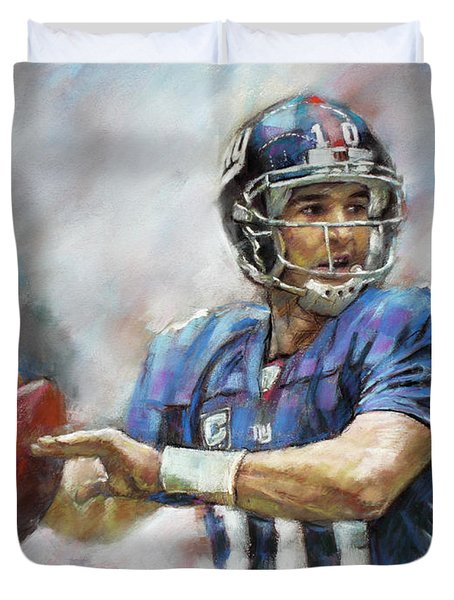 Duvet Cover featuring the drawing Eli Manning Nfl Ny Giants  by Viola El