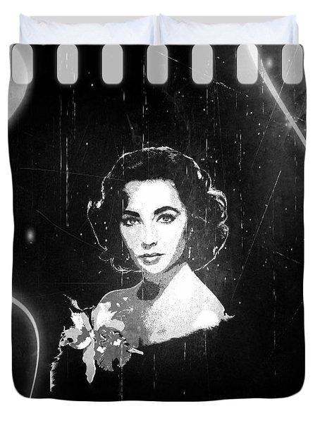 Elizabeth Taylor - Black And White Film Duvet Cover by Absinthe Art By Michelle LeAnn Scott