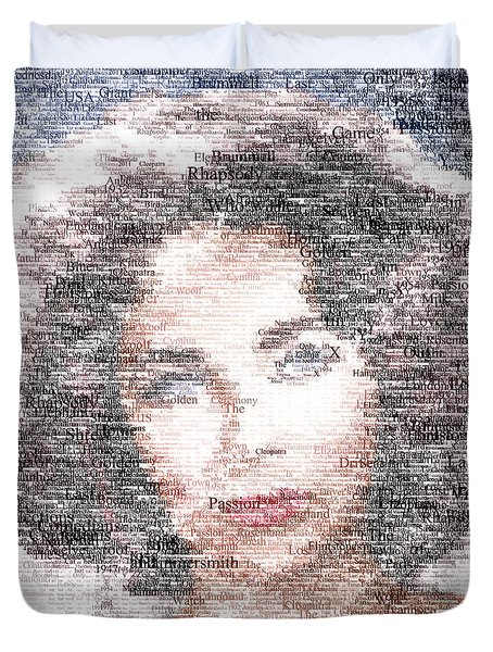 Elizabeth Taylor Typo Duvet Cover by Taylan Apukovska