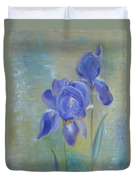 Duvet Cover featuring the painting Elizabeth's Irises by Judith Rhue