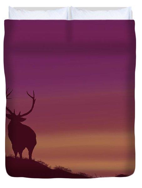 Elk At Dusk Duvet Cover
