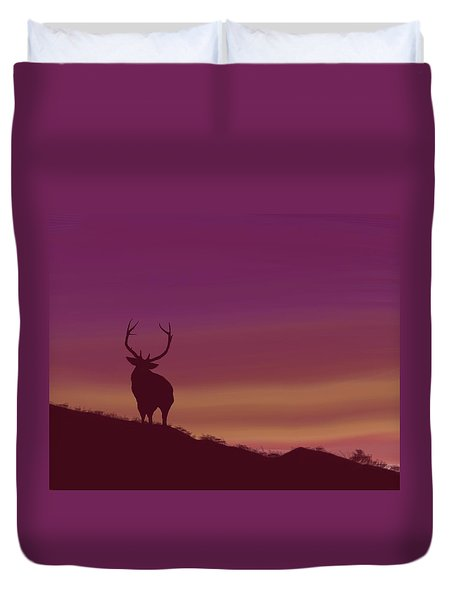 Elk At Dusk Duvet Cover by Terry Frederick