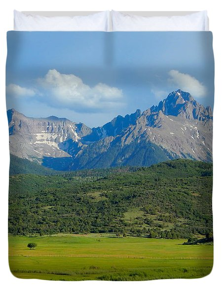 Elk Below Mount Sneffels Duvet Cover