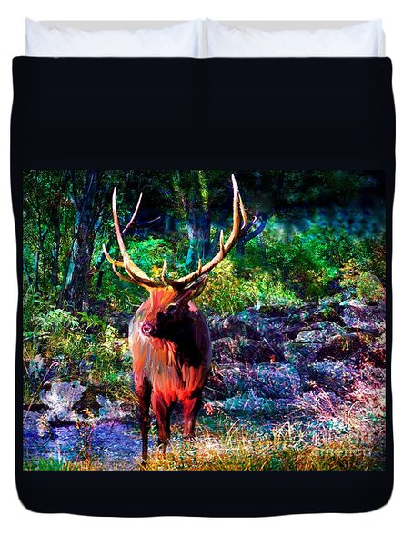 Elk In The Wilderness Duvet Cover by Annie Zeno