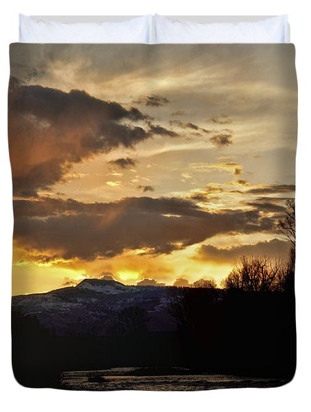 Elk River N Pilots Nob Sunset Ver 2 Duvet Cover