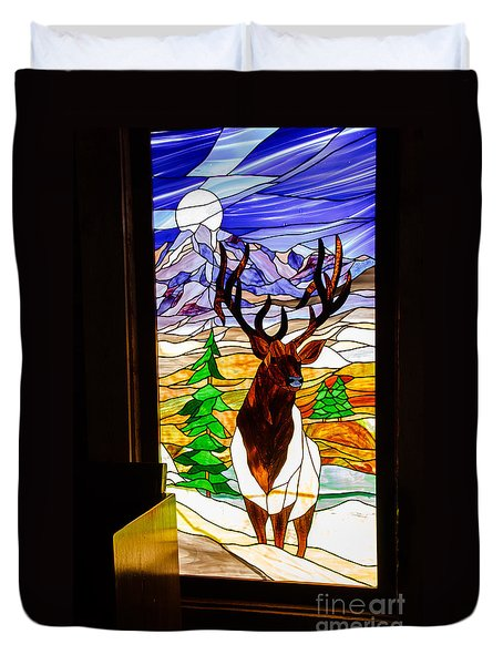 Elk Stained Glass Window Duvet Cover by Robert Bales