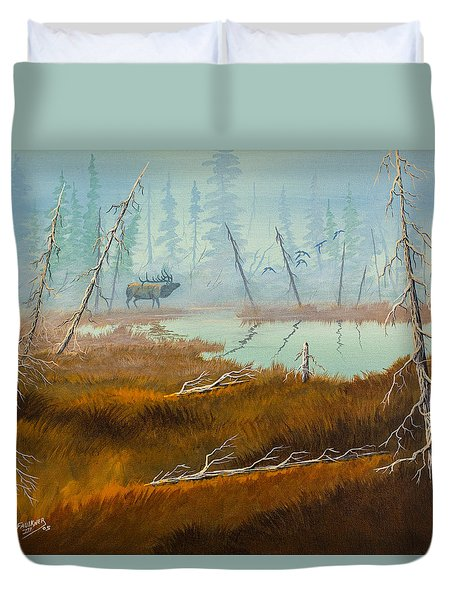 Duvet Cover featuring the painting Elk Swamp by Richard Faulkner