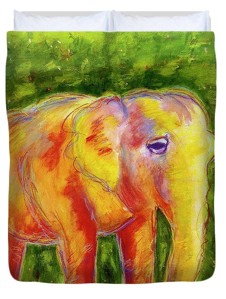 Duvet Cover featuring the painting Elle by Beth Saffer