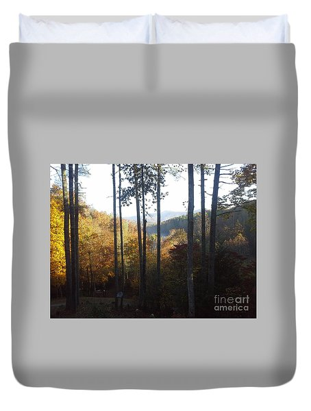 Duvet Cover featuring the painting Ellijay Color by Jan Dappen