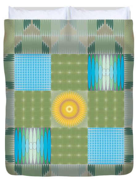 Duvet Cover featuring the digital art Ellipse Quilt 1 by Kevin McLaughlin