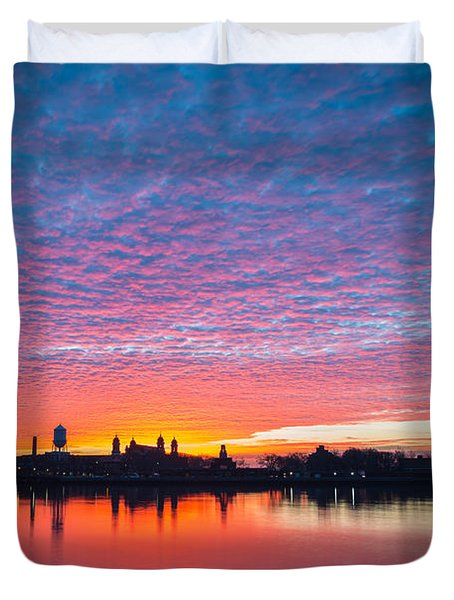 Ellis Island Silhouette Sunrise Duvet Cover