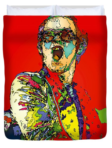 Elton In Red Duvet Cover by John Farr