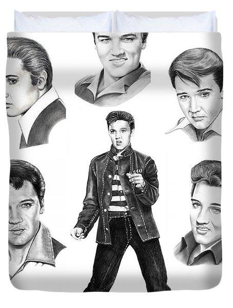 Elvis Elvis Elvis Duvet Cover by Murphy Elliott