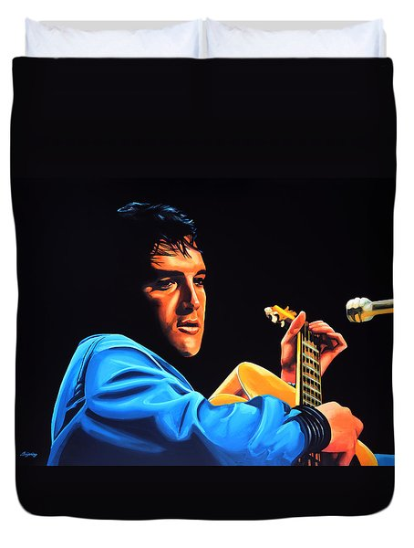 Elvis Presley 2 Painting Duvet Cover by Paul Meijering