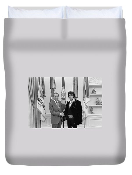 Elvis Presley And Richard Nixon-featured In Men At Work Group Duvet Cover
