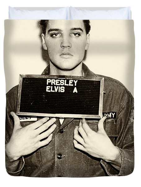 Elvis Presley - Mugshot Duvet Cover by Bill Cannon