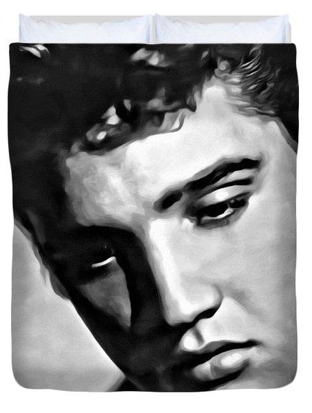 Elvis Presley Painting Duvet Cover by Florian Rodarte