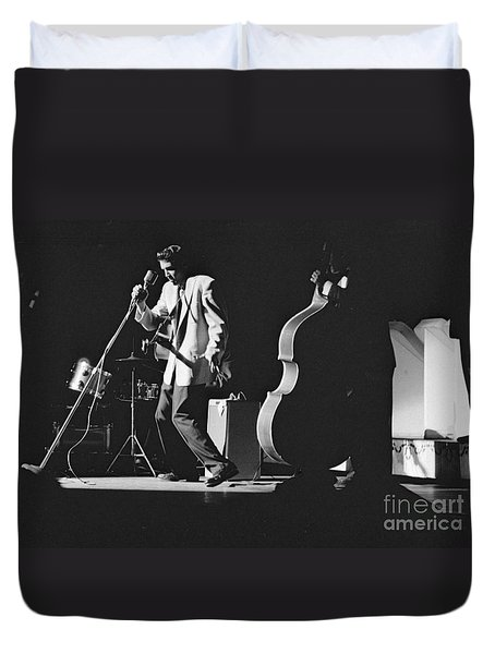 Elvis Presley Performing At The Fox Theater 1956 Duvet Cover