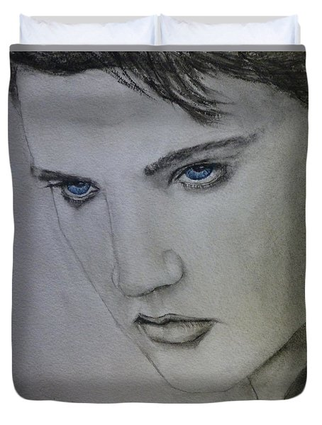 Duvet Cover featuring the painting Elvis's Blue Eyes by Kelly Mills