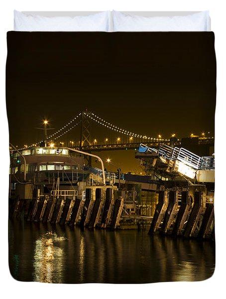 Embarcadero Boats Duvet Cover