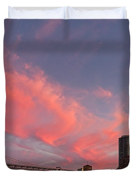 Duvet Cover featuring the photograph Embarcadero Sunset by Kate Brown