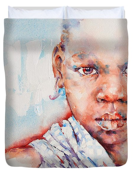 Embolden - African Portrait Duvet Cover by Stephie Butler
