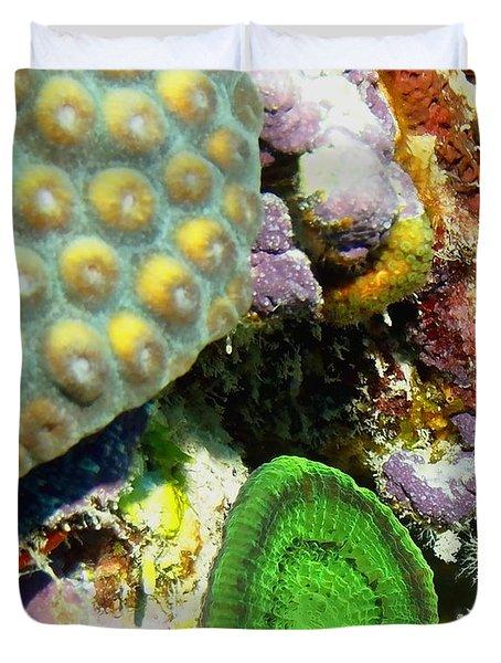 Emerald Artichoke Coral Duvet Cover