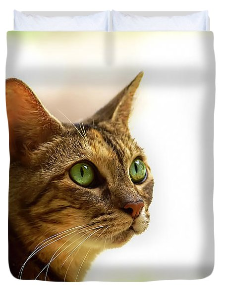 Duvet Cover featuring the photograph Emerald Eyes by Olga Hamilton