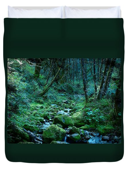 Duvet Cover featuring the photograph Emerald Forest by Nick Kloepping