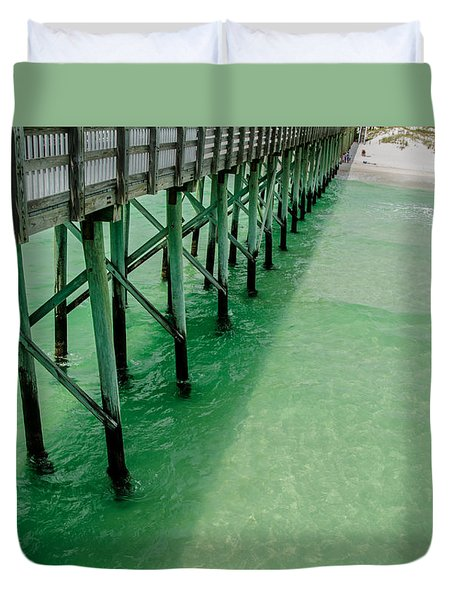 Duvet Cover featuring the photograph Emerald Green Tide  by Susan  McMenamin
