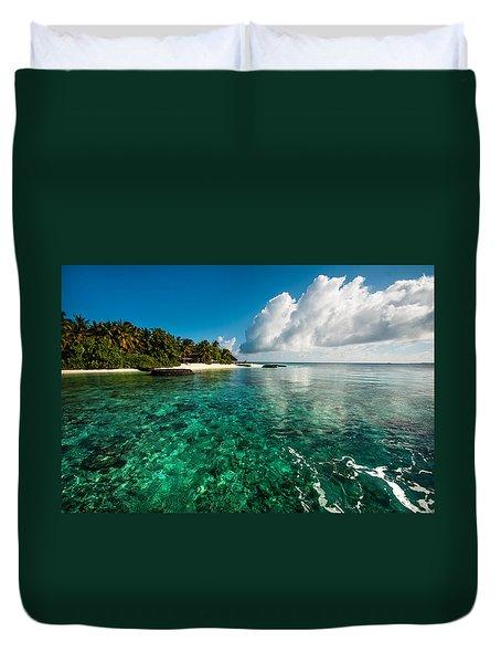 Emerald Purity. Kuramathi Resort. Maldives Duvet Cover by Jenny Rainbow