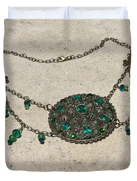 Emerald Vintage New England Glass Works Brooch Necklace 3632 Duvet Cover by Teresa Mucha