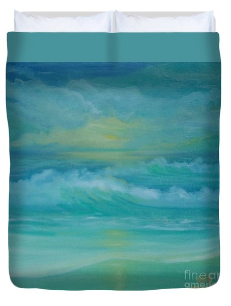 Emerald Waves Duvet Cover