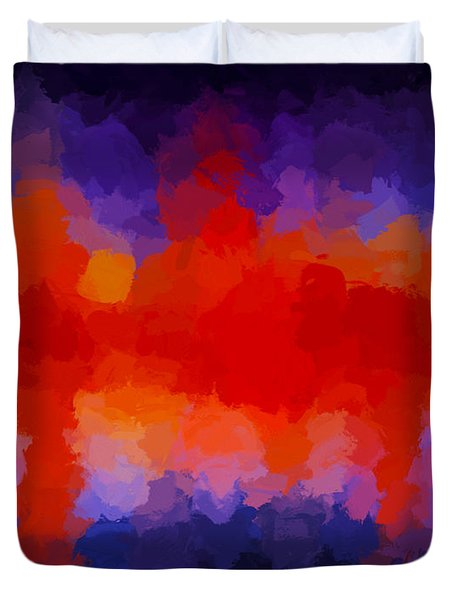 Duvet Cover featuring the painting Emergent Light by Ken Frischkorn