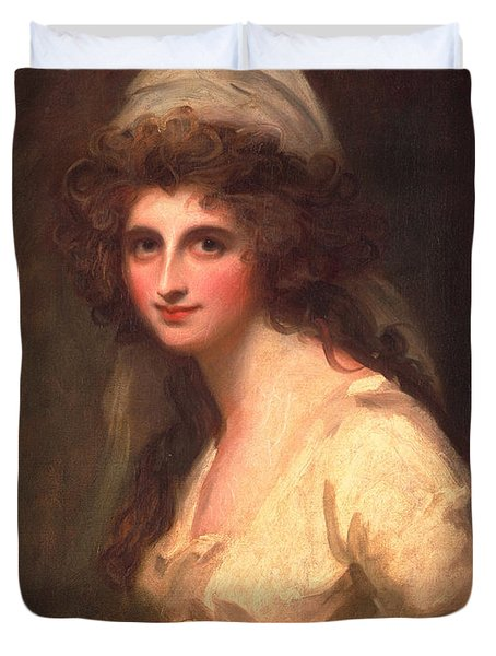 Emma Hart In A White Turban, C.1791 Duvet Cover
