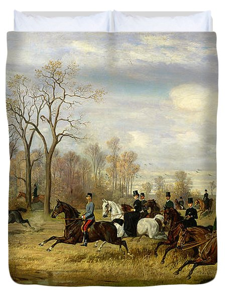 Emperor Franz Joseph I Of Austria Hunting To Hounds With The Countess Larisch In Silesia Duvet Cover by Emil Adam