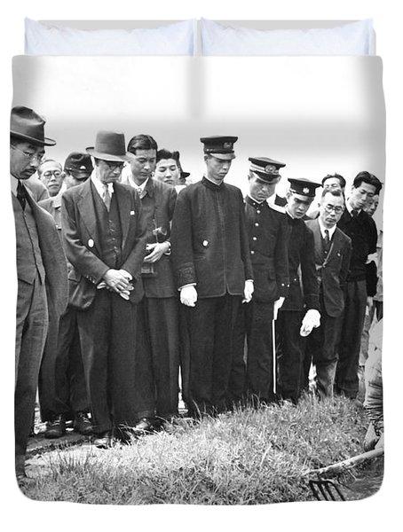 Emperor Hirohito Visits Farm Duvet Cover