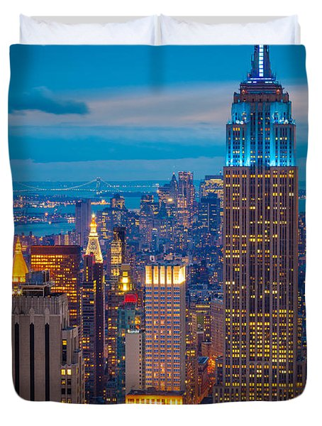 Empire State Blue Night Duvet Cover
