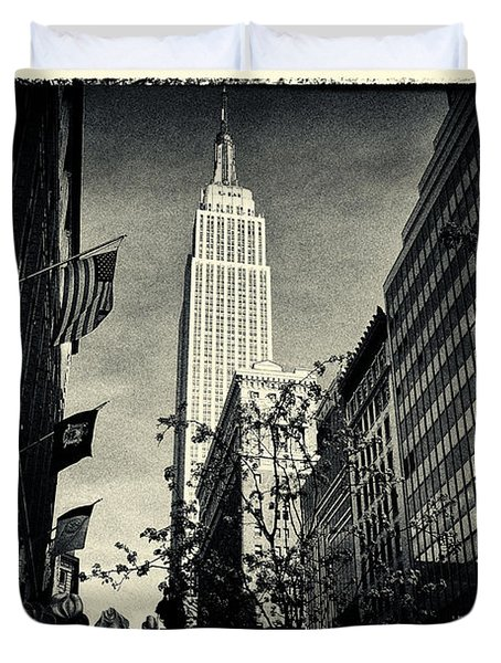 Empire State Building And Macys In New York City Duvet Cover by Sabine Jacobs