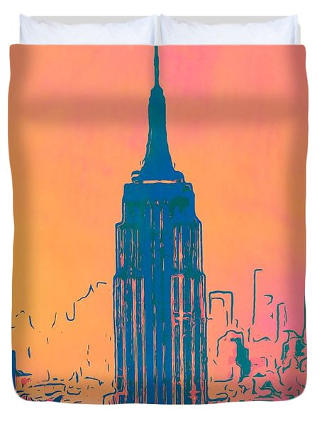 Empire State Building Pop Art Duvet Cover