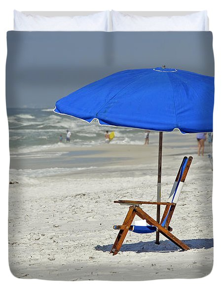 Duvet Cover featuring the photograph Empty Beach Chair by Charles Beeler